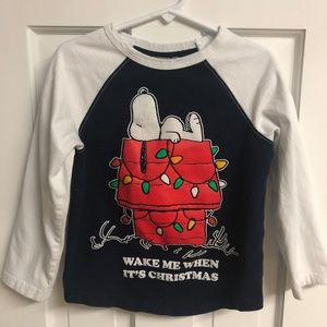 Peanuts Snoopy Holiday Long Sleeve Tee T-Shirt 4T